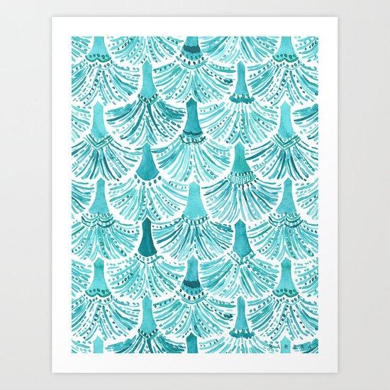 MERMAID TAILS Nautical Scallop Pattern Art Print
