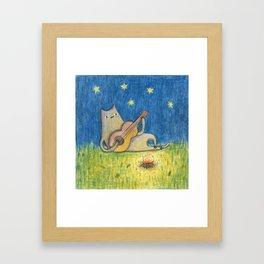 Campfire Cat Framed Art Print