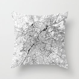 Brussels White Map Throw Pillow
