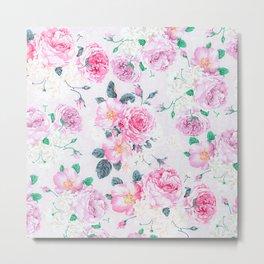 Vintage blush pink rose white floral elegant damask Metal Print