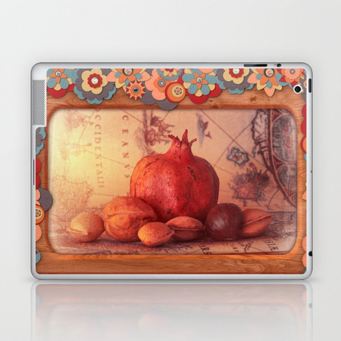 Sweet Light, Pomegranate, Tree Nuts and a Antique Map Laptop & iPad Skin