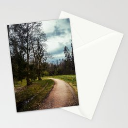 road in a forest Stationery Cards
