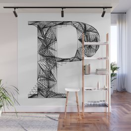 ''City Collection'' - Minimal Letter P Print Wall Mural
