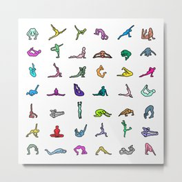 Rainbow Yoga Poses Metal Print