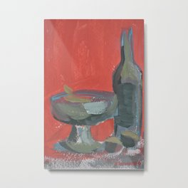 Fruit Bowl and Bottle Metal Print