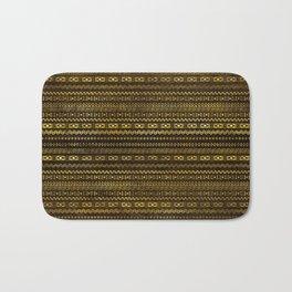 Golden Tribal Pattern on Dark wood Bath Mat