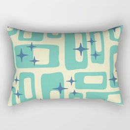 Retro Mid Century Modern Abstract Pattern 577 Turquoise Blue Rectangular Pillow