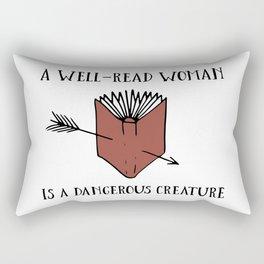 A Well-Read Woman is a Dangerous Creature (Red) Rectangular Pillow