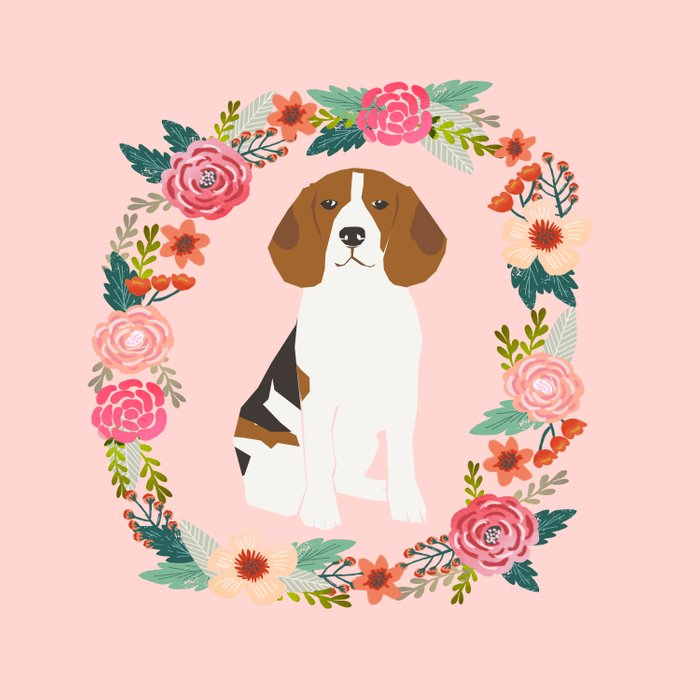 beagle floral wreath dog gifts pet portraits Comforters