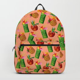 Tiki Cocktail Pattern - Peach Backpack
