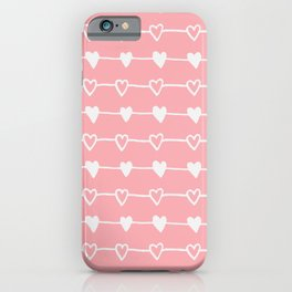 Handrawn Hearts - Pink iPhone Case