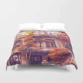 Dressed Up in Autumn - New York City Brownstones Duvet Cover