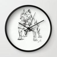 pit bull Wall Clocks featuring Pit Bull  by RJsART