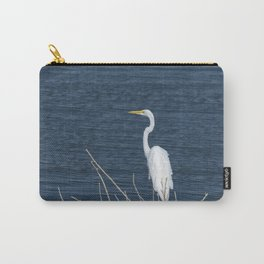 Single Great White Egret standing on lake shore Carry-All Pouch