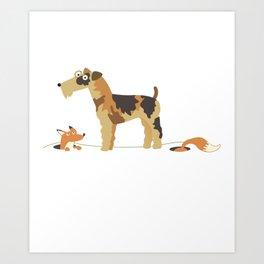 Fox Terrier With Fox Gift Idea Art Print