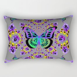 PURPLE  PANSIES &  GREEN BUTTERFLIES CHARCOAL GREY GEOMETRIC Rectangular Pillow