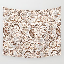 Folk Floral Brown Wall Tapestry