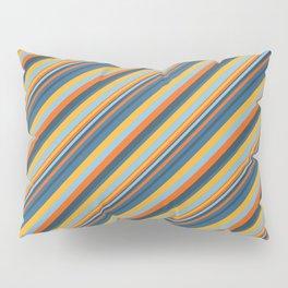 Indigo Orange Sky Blue Inclined Stripe Pillow Sham