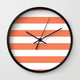 Large Basket Ball Orange and White Horizontal Cabana Tent Stripes Wall Clock