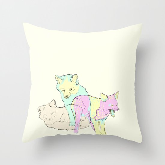 3 Channel Island Foxes Throw Pillow