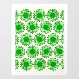 vintage flowers green Art Print