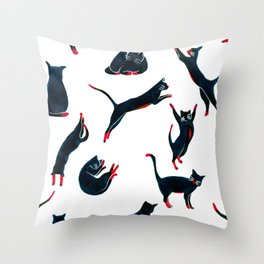 Cats on the move pattern Throw Pillow