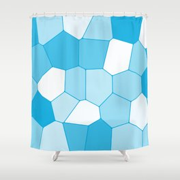 Blue ice tile blocks pattern Shower Curtain