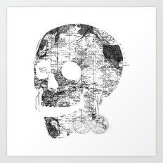 Skull Wanderlust Black and White Art Print