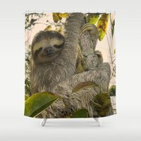 sloth Shower Curtains featuring Sloth by MehrFarbeimLeben