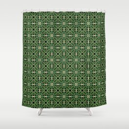 Art Deco Floral Tiles in Emerald Green and Faux Gold Shower Curtain