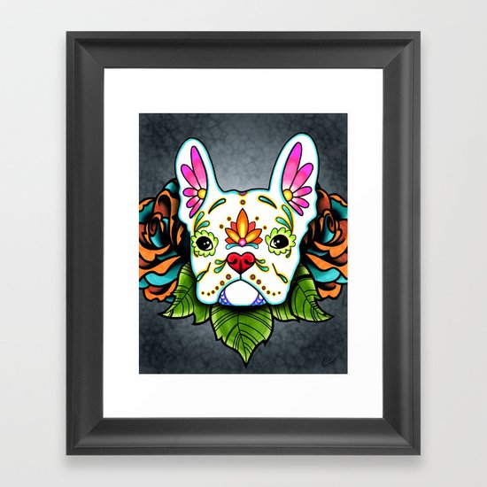 French Bulldog in White - Day of the Dead Sugar Skull Dog by prettyinink