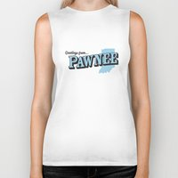 parks and recreation Biker Tanks featuring Parks and Recreation - Greetings from Pawnee by ernieandbert