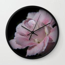 just a little drop - carnation on black Wall Clock