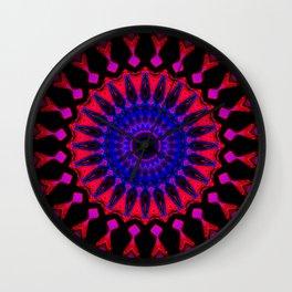 Mandala; Purple Blue and Black Wall Clock