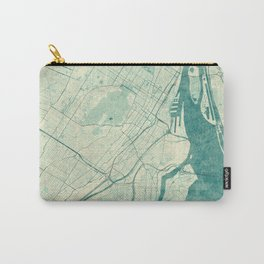 Montreal Map Blue Vintage Carry-All Pouch