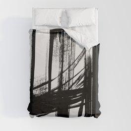 Black Abstract Brush Strokes nr 7 Duvet Cover