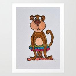 monkey in tutu Art Print