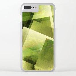 Yellow Green - Digital Geometric Texture Clear iPhone Case