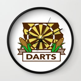 Dart Board Iowa State Map Corn Retro Wall Clock