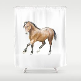 Horse Watercolor Painting Shower Curtain