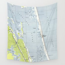 Vintage Northern Outer Banks Map (1940) Wall Tapestry