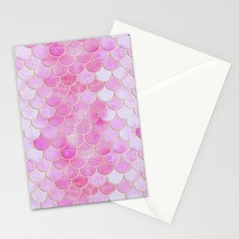 Pink Pearlescent Mermaid Scales Pattern Stationery Cards