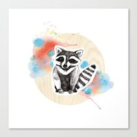 raccoon Canvas Prints featuring Raccoon by Wood + Ink