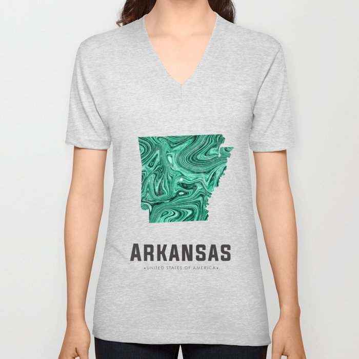 Arkansas - State Map Art - Abstract Map - Green Unisex V-Neck