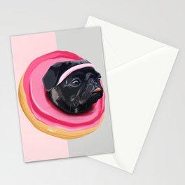 Pug Donut Gym Stationery Cards