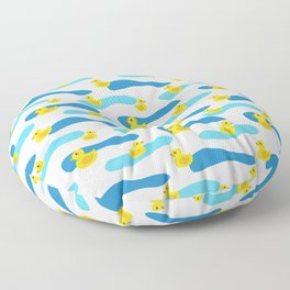 Yellow Rubber Duck with Blue Waves Seamless Pattern Floor Pillow
