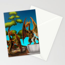 Hot Coffee with Bonsai and Fire Dragons Stationery Cards