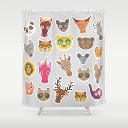 Sticker set of funny animals muzzle. Vector Shower Curtain
