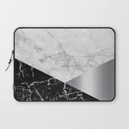 White Marble - Black Granite & Silver #230 Laptop Sleeve