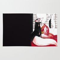 kitsune Area & Throw Rugs featuring Kitsune by Aimee Steinberger